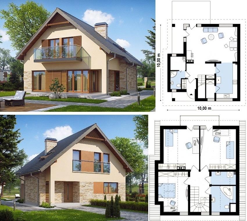 проекты домов из пеноблоков с мансардой фото